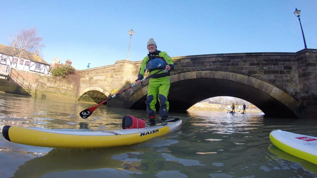 Paddle boarding on the River Arun Queen Street Bridge
